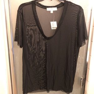Urban Outfitters Black Mesh V-Neck Tee